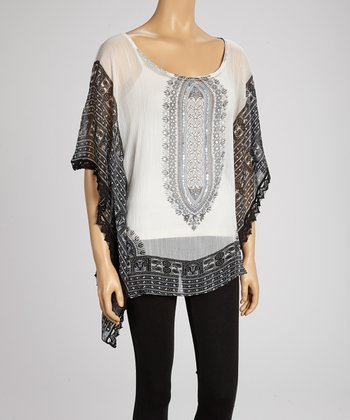 White & Black Paisley Cape-Sleeve Tunic