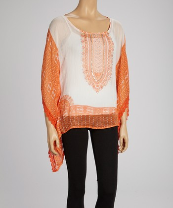 White & Orange Paisley Cape-Sleeve Tunic