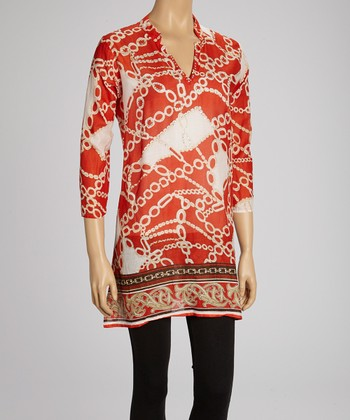 Orange Rhinestone Status Tunic