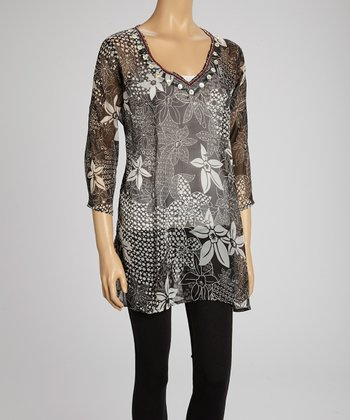 Black & White Floral V-Neck Tunic