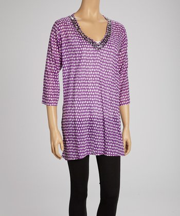 Purple Embellished V-Neck Tunic