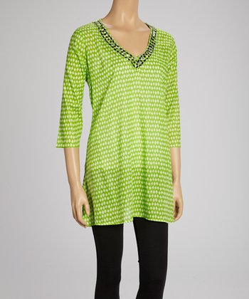 Lime Embellished V-Neck Tunic