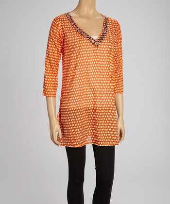 Orange Embellished V-Neck Tunic