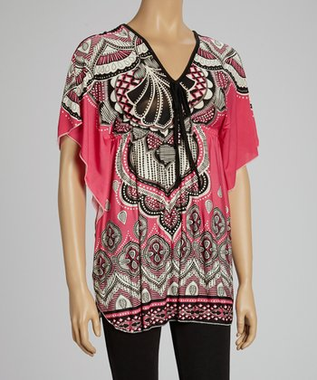 Fuchsia & Black V-Neck Dolman Tunic