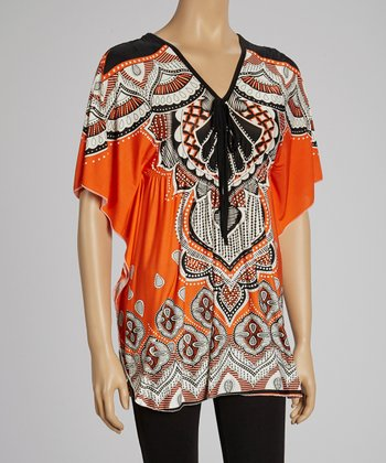 Orange & Black V-Neck Dolman Tunic