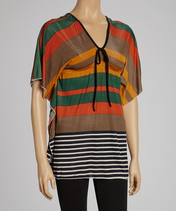 Orange & Green Stripe Dolman Tunic
