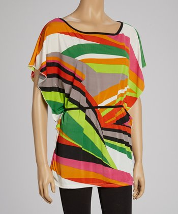 Orange & Lime Abstract Tunic