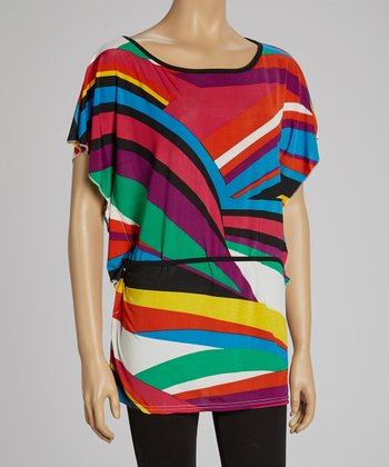 Fuchsia & Teal Abstract Tunic
