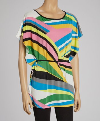 Lime & Pink Abstract Tunic