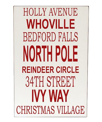 Cream & Red Christmas Places Wall Art