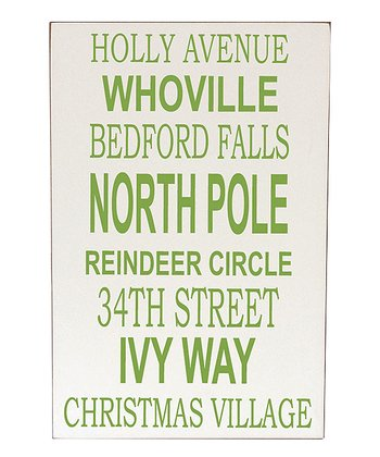 Cream & Green Christmas Places Wall Art