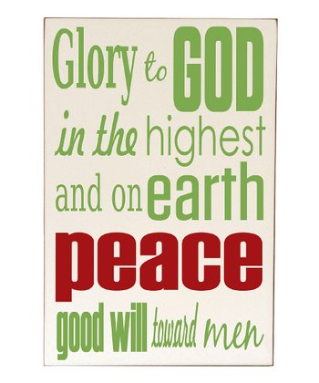 Cream & Green 'Glory to God' Wall Art