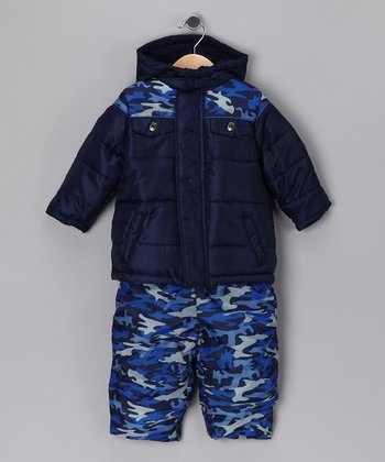 Navy Puffer Coat & Bib Pants - Toddler & Boys