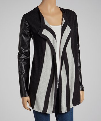 Black Stripe Faux Leather Open Cardigan