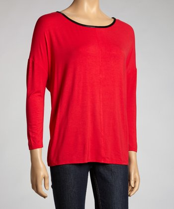 Red Faux Leather Trim Top