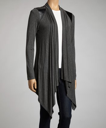 Charcoal Faux Leather Trim Long Open Cardigan