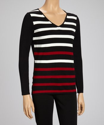 Charcoal & Black Stripe V-Neck Sweater