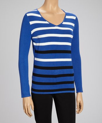 Electric Blue & White Stripe V-Neck Sweater
