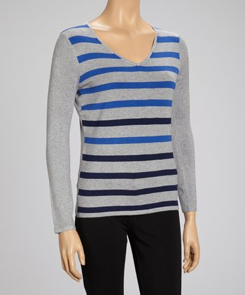 Heather Gray & Blue Stripe V-Neck Sweater