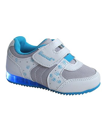 White & Aqua Cherry Light-Up Sneaker