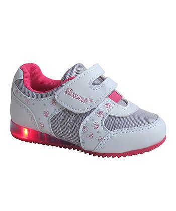 White & Fuchsia Cherry Light-Up Sneaker