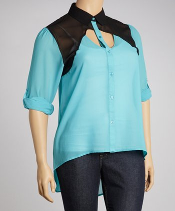 Turquoise & Black Sheer Color Block Cutout Button-Up - Plus