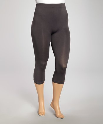 Charcoal Cropped Leggings - Plus