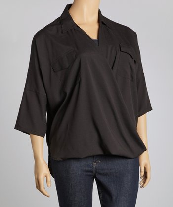 Black Surplice Top - Plus