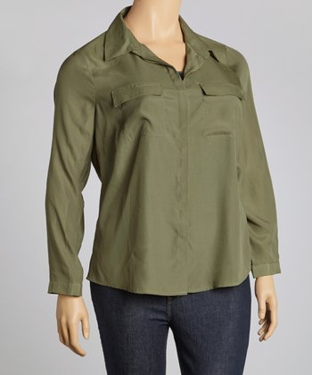 Olivine Pocket Button-Up - Plus