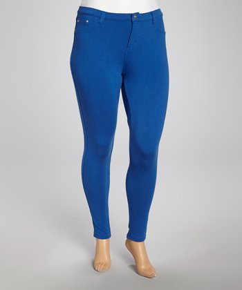 Royal Blue Frenchterry Moleton Jeggings - Plus