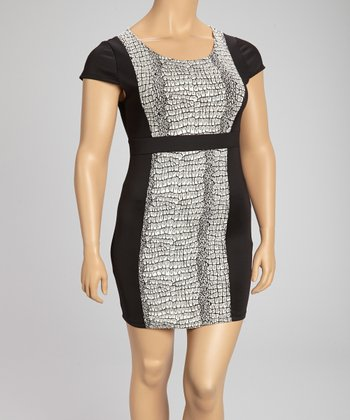 Black & White Snake Sheath Dress - Plus
