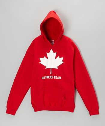 Red 'On the Eh Team' Hoodie - Kids & Adults