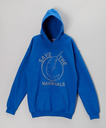 Royal Blue 'Save the Narwhals' Hoodie - Kids & Adults
