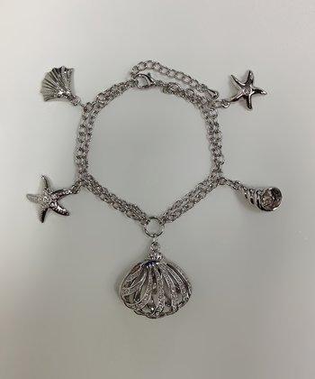 Crystal & Silver Seashell Bracelet