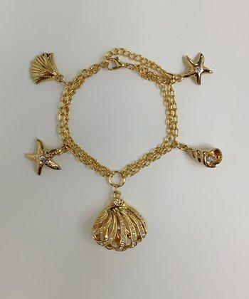 Crystal & Gold Seashell Bracelet
