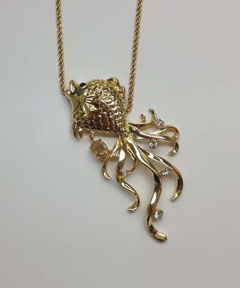 Crystal & Gold Fish Pendant Necklace