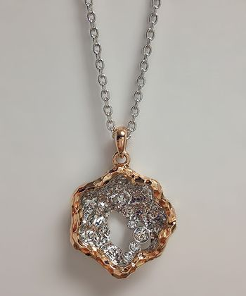 Crystal & Rose Gold Seashell Pendant Necklace