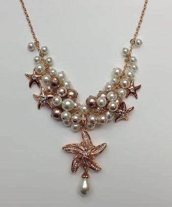 Pearl & Rose Gold Starfish Bib Necklace