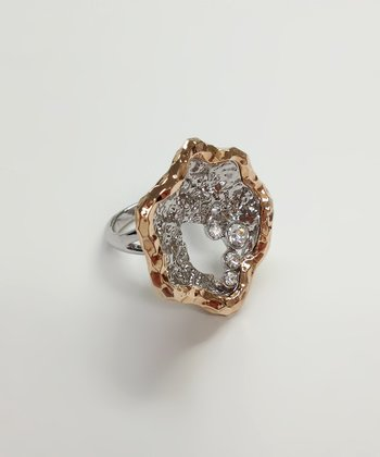 Silver Crystal & Rose Gold Clam Ring