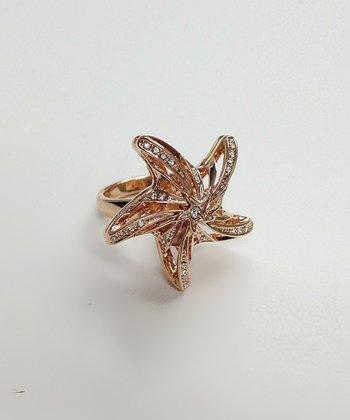 Crystal & Rose Gold Cutout Starfish Ring
