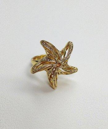 Crystal & Gold Cutout Starfish Ring