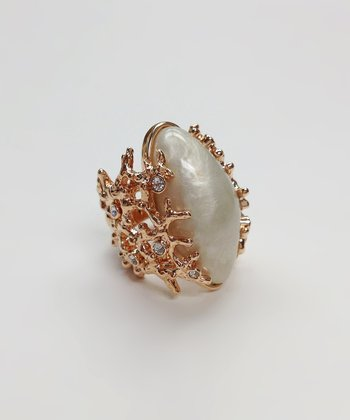 Crystal & Rose Gold Pearl Ring