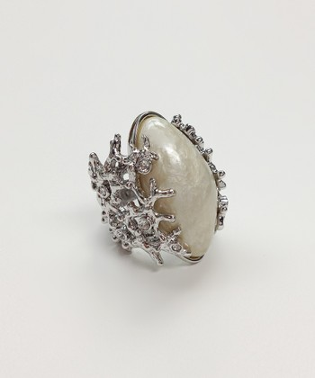Crystal & Silver Pearl Ring