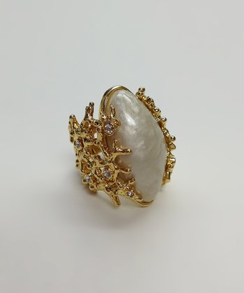 Crystal & Gold Pearl Ring
