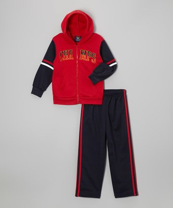 Red Fleece 'Champs' Zip-Up Hoodie Set - Boys