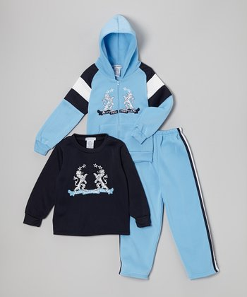Light Blue Fleece 'Passport' Zip-Up Hoodie Set - Boys