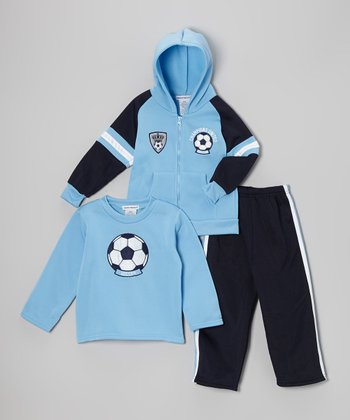 Light Blue 'Champions United' Fleece Zip-Up Hoodie Set - Boys