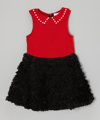 Red & Black Ruffle Dress - Toddler & Girls