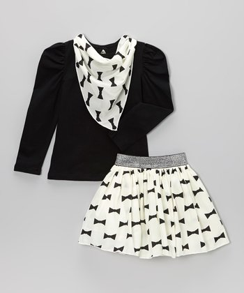 White Bows Skirt Set - Toddler & Girls