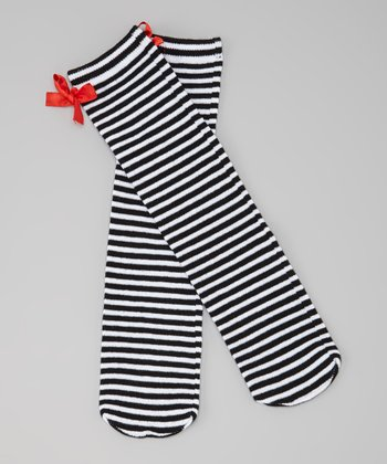 Black & White Stripe Bow Socks